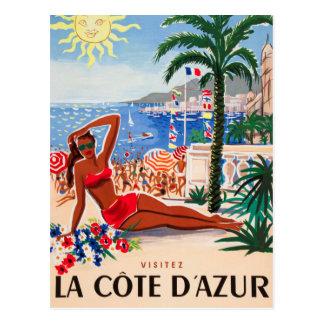 Carte Postale Fille vintage de plage de Cote d'Azur