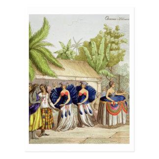 Carte Postale Filles de danse polynésiennes, gravées par A.