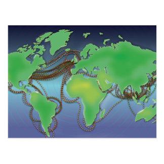 Carte Postale Fils du monde - câbles sous-marins
