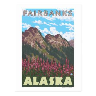 Carte Postale Fireweed et montagnes - Fairbanks, Alaska
