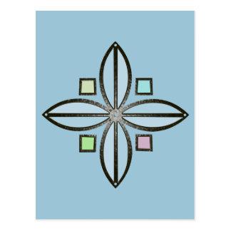 Carte Postale fleur celtique de bonne chance de fer de couleur