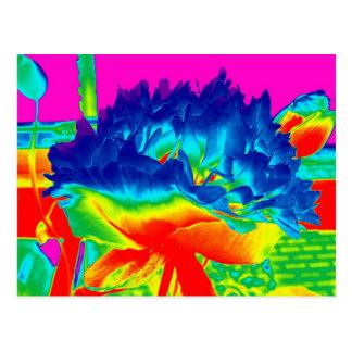 Carte Postale Fleur colorée multi Popart d'arc-en-ciel génial