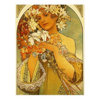 Carte Postale Fleur par Alphonse Mucha