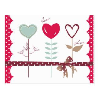 Carte Postale Fleurs de coeur - baisers d'espoir d'amour