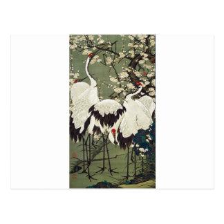 Carte Postale Fleurs et grues de prune par Ito Jakuchu