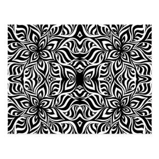 Carte Postale Fleurs noires et blanches de fractale d'encre