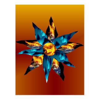 Carte Postale Fleurs pétales de flambage de la terre de lave de