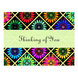 Carte Postale Fleurs rayonnantes d'album à couleur de sélection
