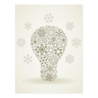Carte Postale Flocon de neige une ampoule