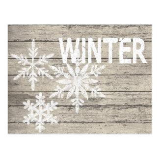Carte Postale Flocons de neige rustiques d'hiver
