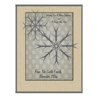 Carte Postale Flocons de neige sur l'arrière - plan de flocon de
