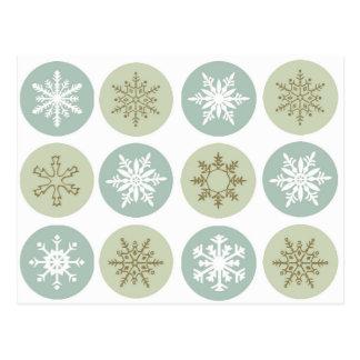 Carte Postale flocons de neige vintages modernes