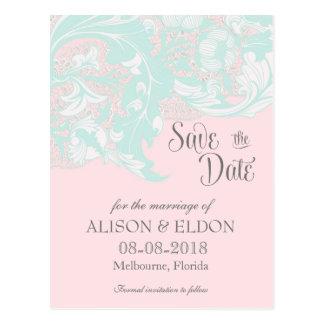 Carte Postale Floral chic élégant - menthe légère, rose en