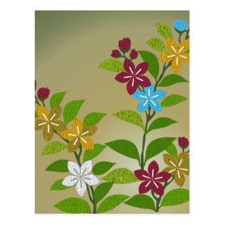 Carte Postale Floral dans l'or et la prune