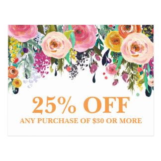 Carte postale florale peinte de promotions de