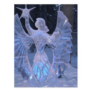 Carte Postale Foi de christianisme d'ange de sculpture en hiver