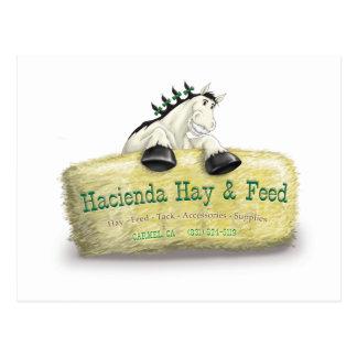 Carte Postale Foin de Hacienda et balle de paille d'alimentation