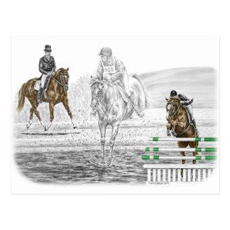 Carte Postale formation combinée de chevaux de trois jours de