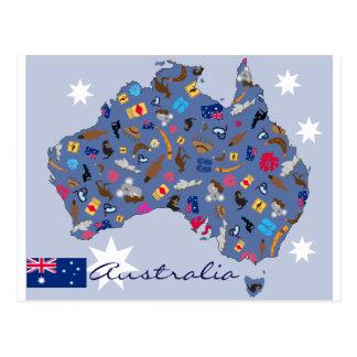 Carte Postale Forme de pays de l'Australie avec des icônes