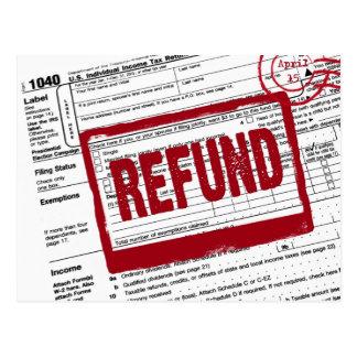 Carte Postale Forme d'impôt sur le revenu avec le timbre de