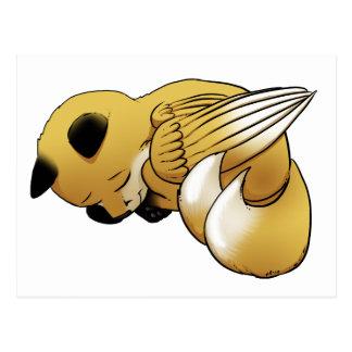 Carte Postale Fox d'or à ailes par sommeil