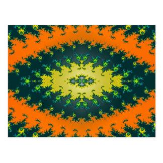 Carte Postale fractale de jaune orange