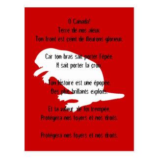 Carte postale française rouge blanche d'hymne de