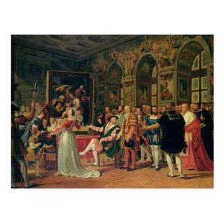 Carte Postale Francis I recevant une peinture du saint