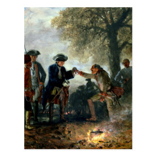Carte Postale Frederick le grand avec Zieten au camp