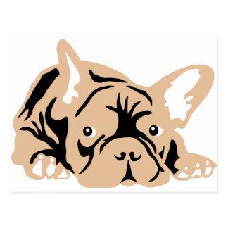 Carte Postale French Bulldog rose
