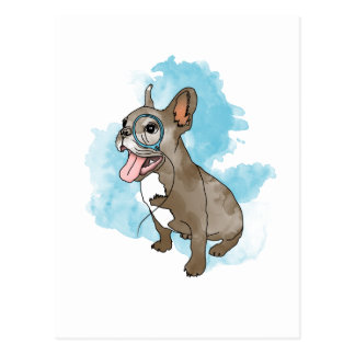 Carte Postale French bulldog with monocle and clouds