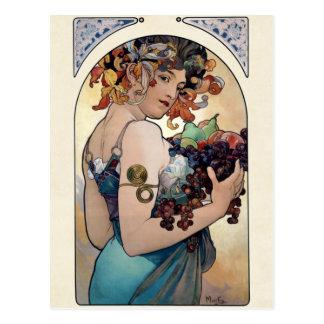 Carte Postale Fruit par Alfons Mucha 1897