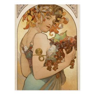 Carte Postale Fruit par Alphonse Mucha