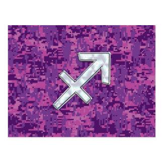 Carte Postale Fuchsia nacré Camo de symbole de Sagittaire