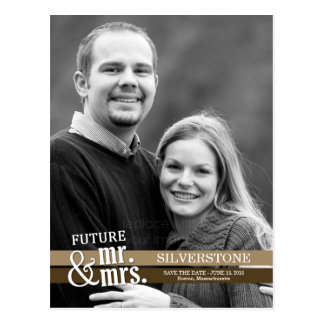 Carte Postale Futurs M. et Mme Wedding Save The Date - Brown