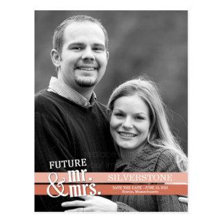 Carte Postale Futurs M. et Mme Wedding Save The Date - pêche