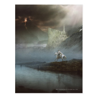 Carte Postale Gandalf prend Hobbits à la ville gardée