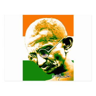 Carte Postale Gandhi dans vert orange et le blanc avec le