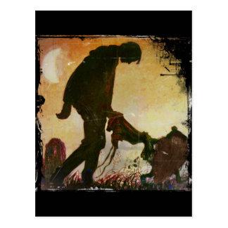 Carte Postale Garçon mené par gnome