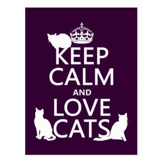 Carte Postale Gardez le calme et aimez les chats (dans toute