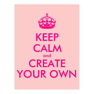 Carte Postale Gardez le calme et créez vos propres - rose