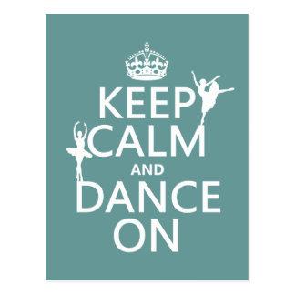 Carte Postale Gardez le calme et dansez sur (ballet) (toutes les