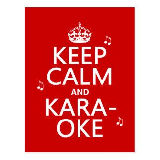 Carte Postale Gardez le calme et le karaoke (la couleur de