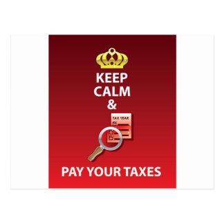 Carte Postale Gardez le calme et payez votre vecteur d'impôts
