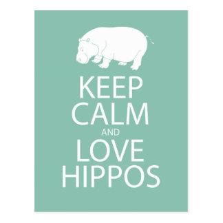 Carte Postale Gardez l'hippopotame d'impression d'hippopotames