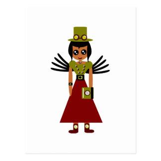 Carte Postale Gardien de but de fille de Steampunk de temps