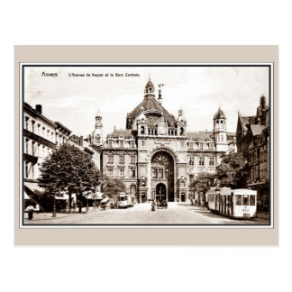 Carte Postale Gare vintage de central d'Anvers