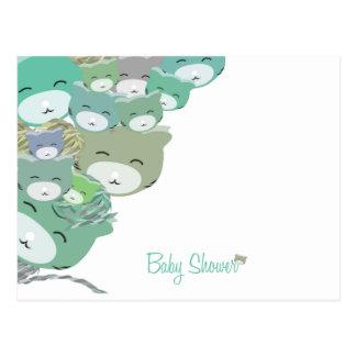 Carte Postale Gatitos infantiles bleus amusants, baby shower
