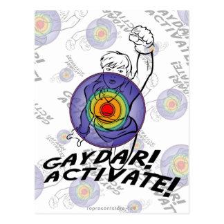 Carte Postale Gaydar ! Activez ! Lesbienne d'arc-en-ciel
