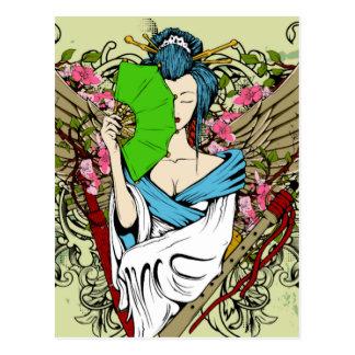 Carte Postale Geisha à ailes